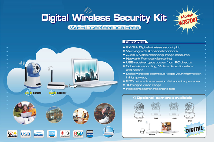 W387DB1 Digital Wireless 4 Channels DVR System USB Function Supported High Resolution WiFi Audio Video Recorder Waterproof Camera Kit for Indoor Security (A/V Receiver + Camera)